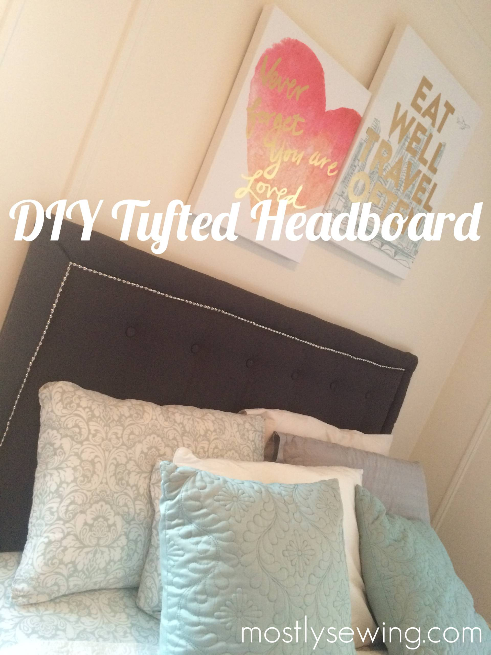 DIY tufted headboard on MostlySewing.com