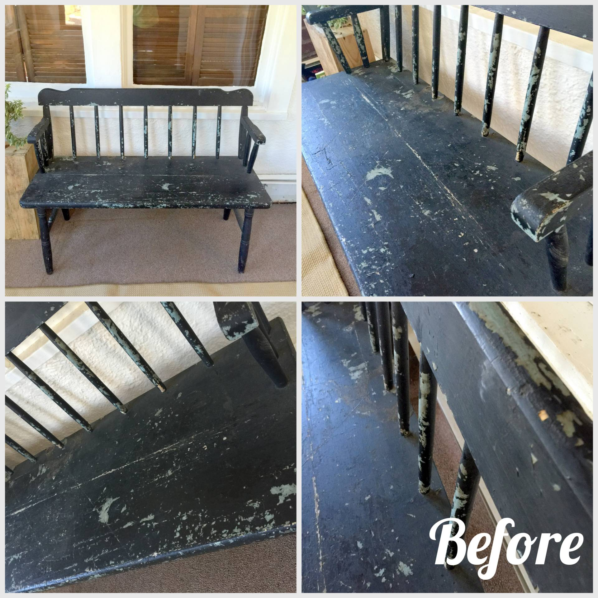 refinishing a chair in my entryway with spray paint on MostlySewing.com
