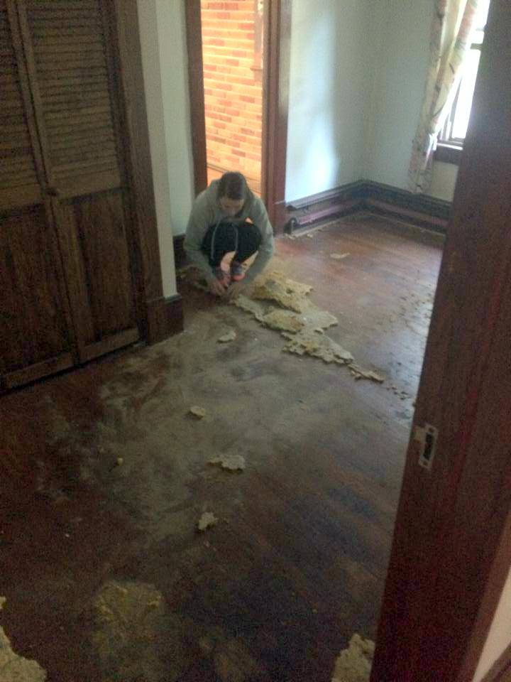 within the first few minutes of owning our house I was tering carpet out of the room