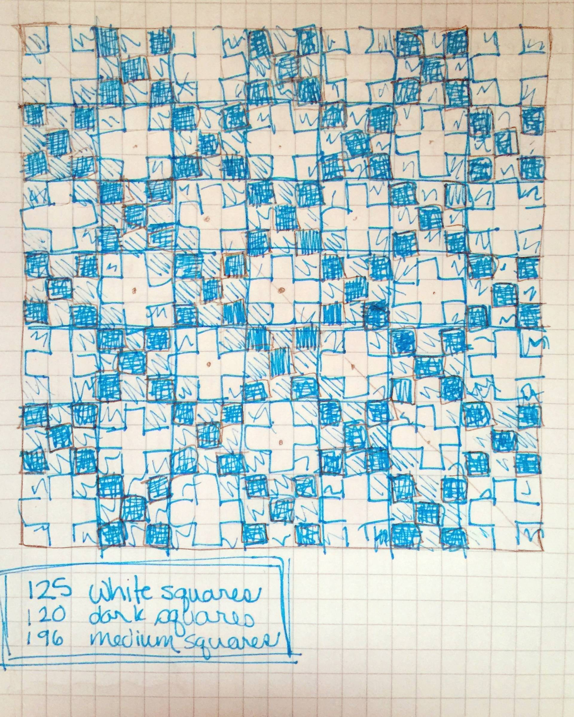 hand-drawn pattern for a modified irish chain quilt