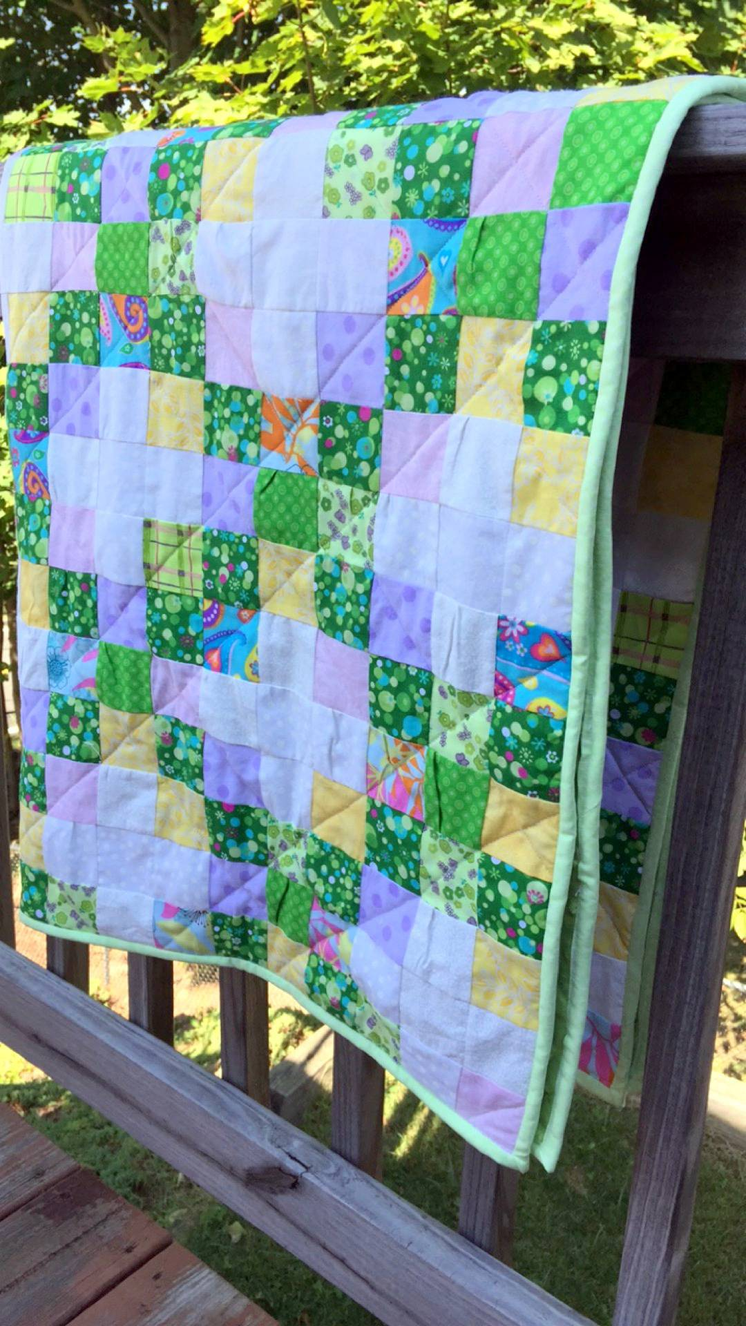 finish green irish chain baby quilt