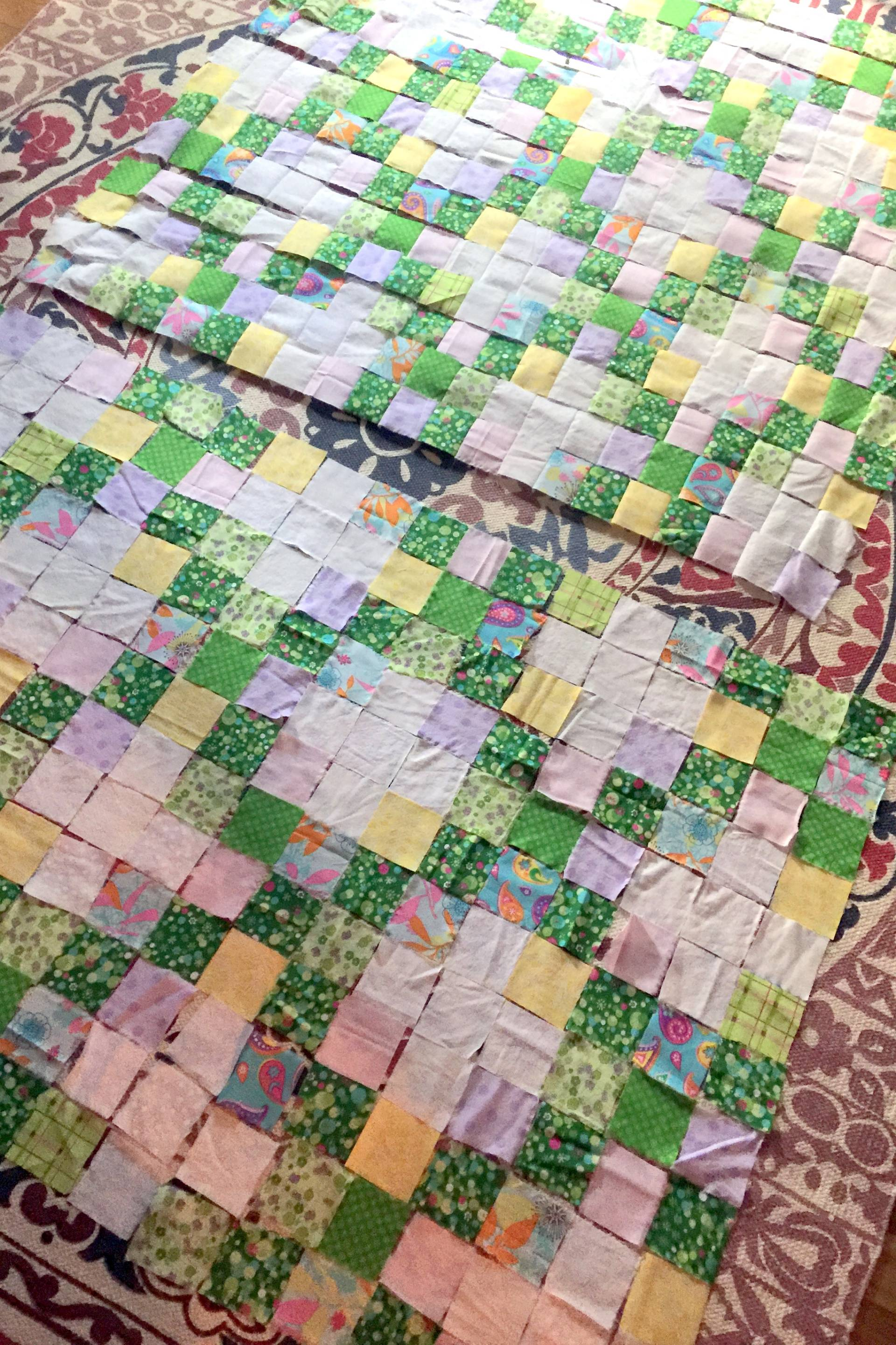 piecing the irish chain quilt
