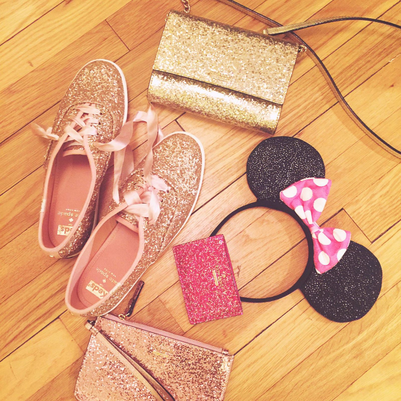 kate spade and keds glitter shoes wallet minnie mouse ears