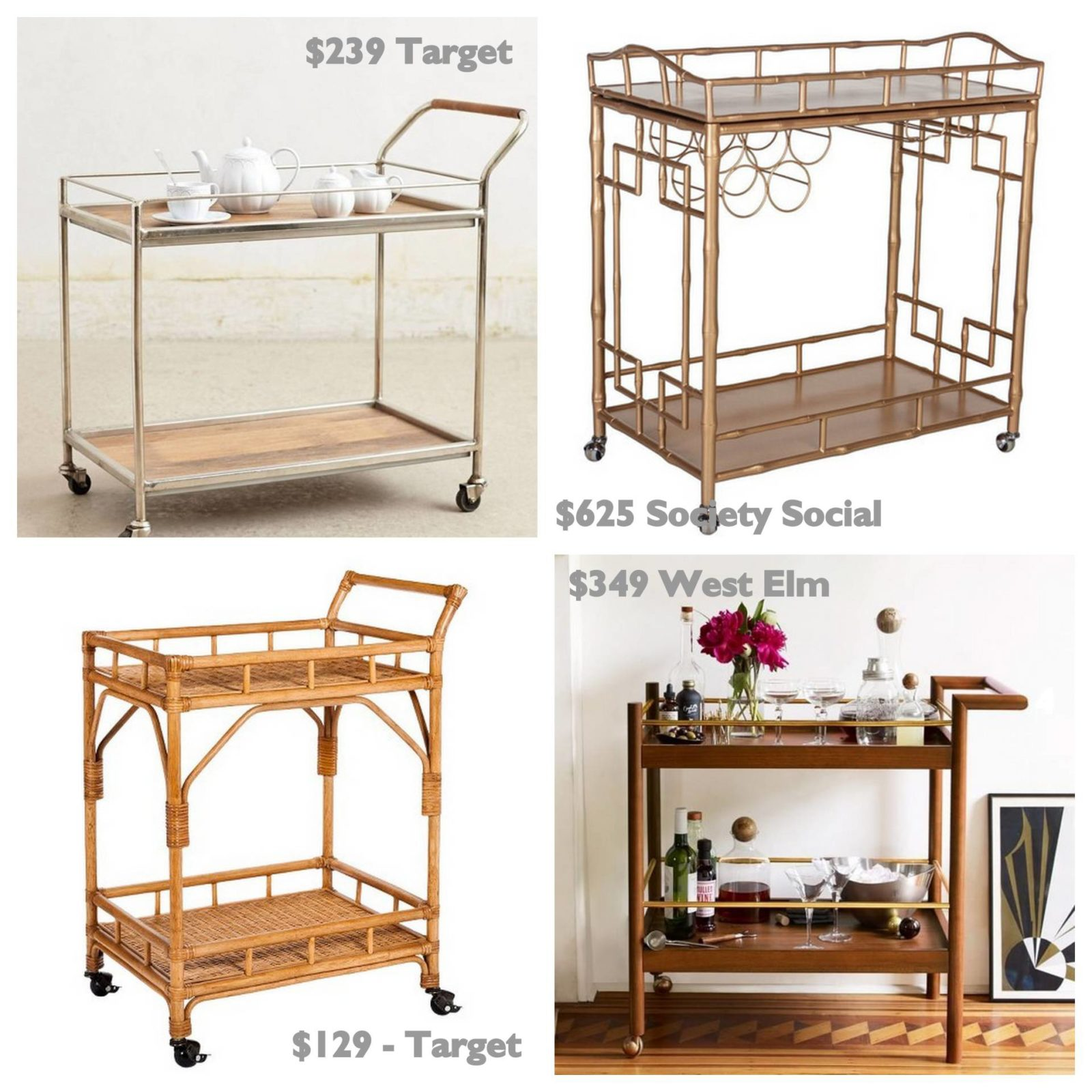 The Perfect Coffee Cart! Antique, DIY rattan cart spray painted gold