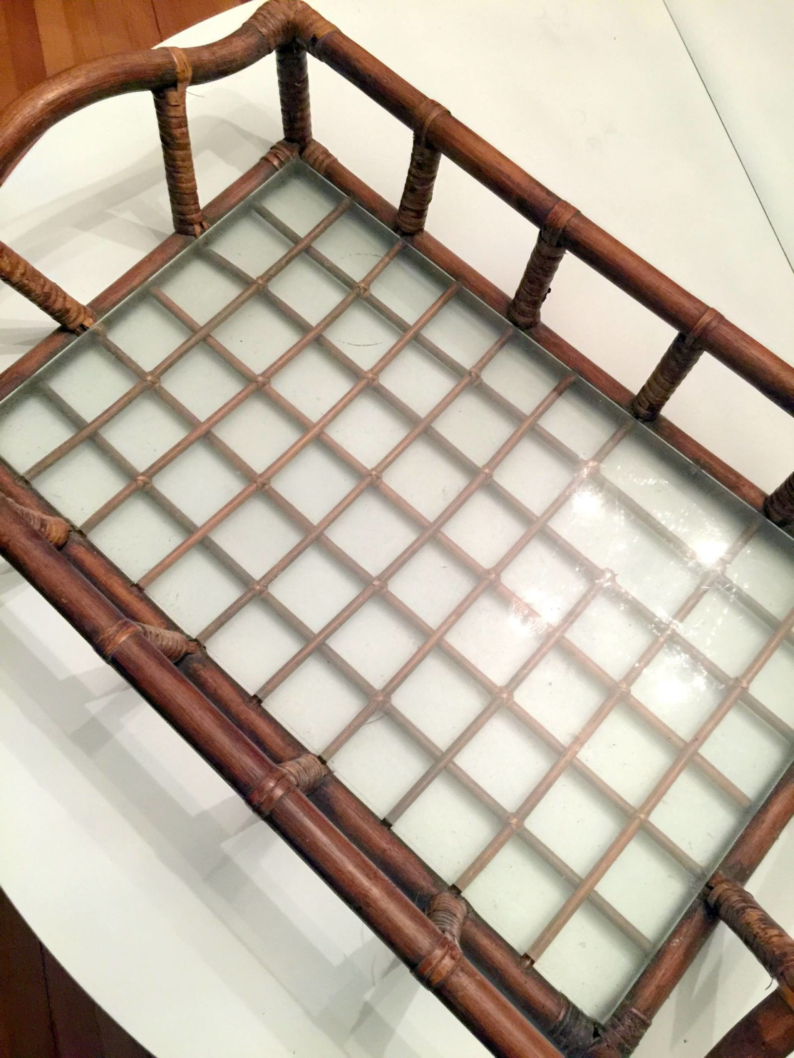removable rattan serving tray