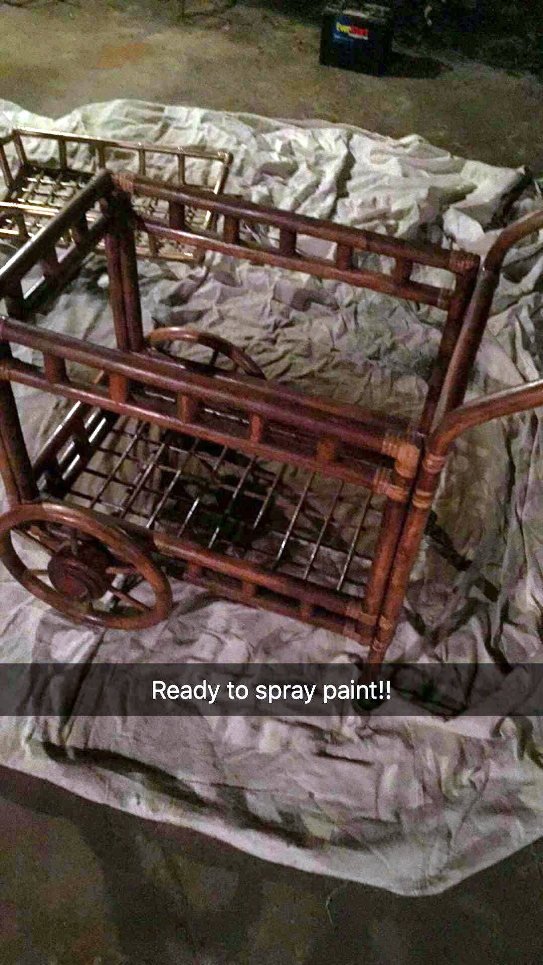 rattan coffee cart ready to spray paint