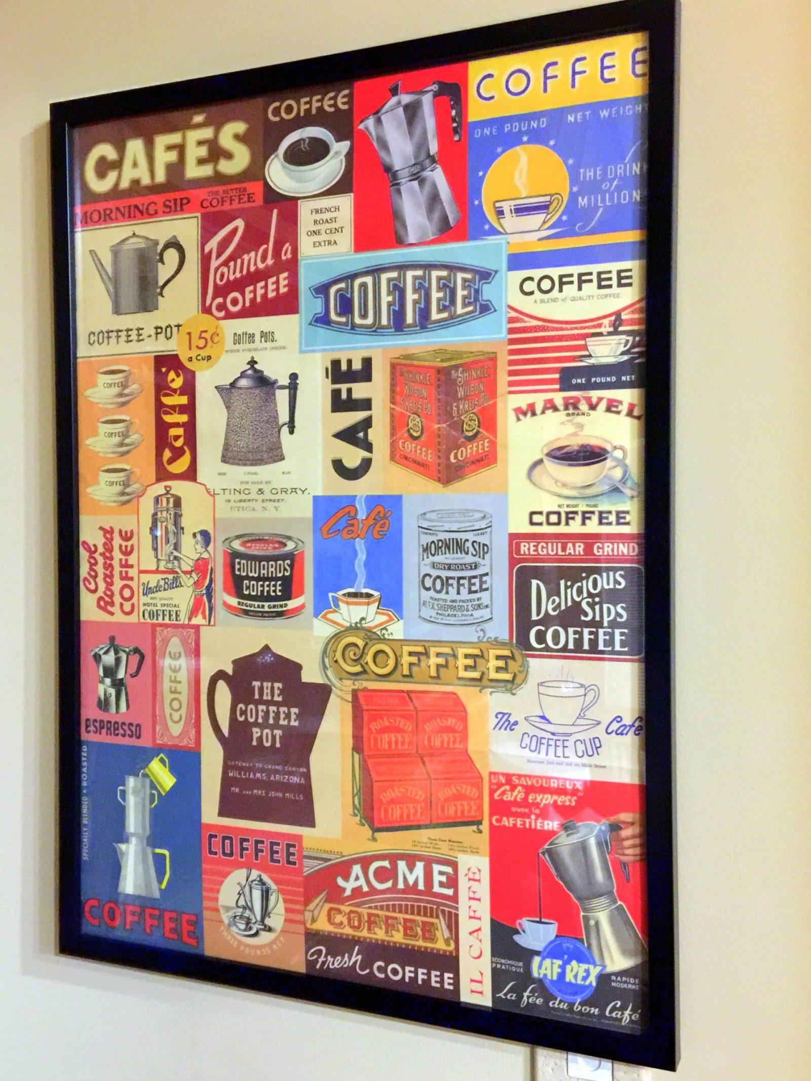 coffee poster framed decor