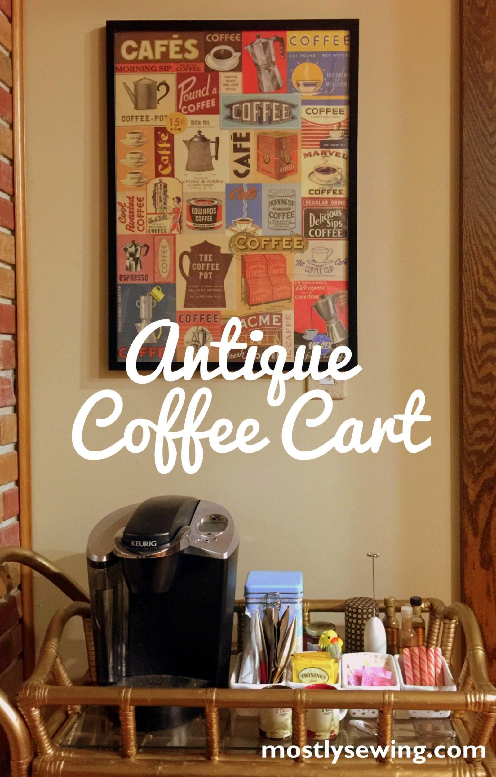 antique golden coffee cart spray paint
