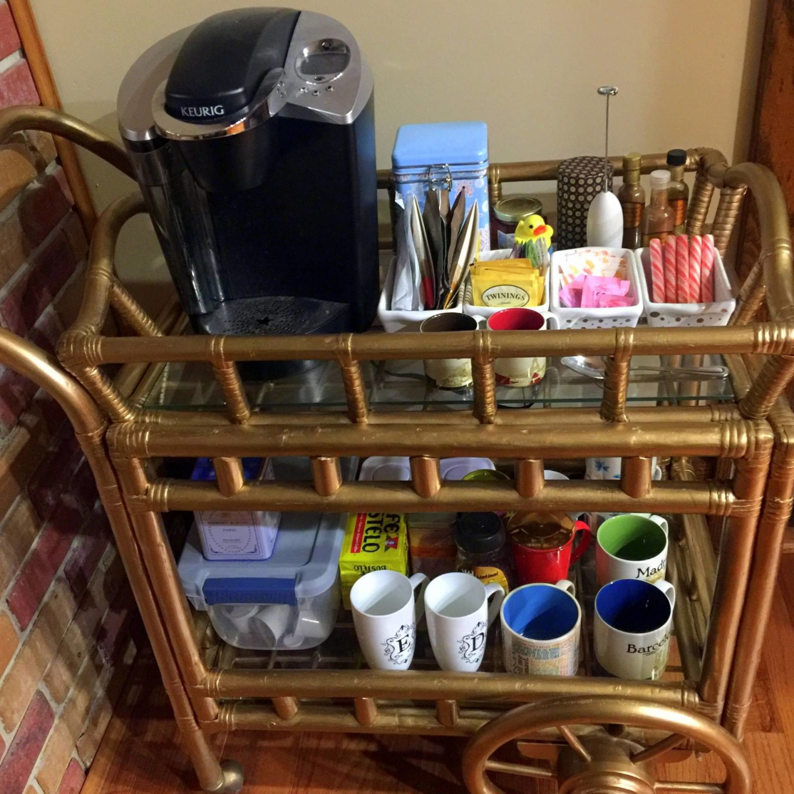 coffee cart filled with mugs
