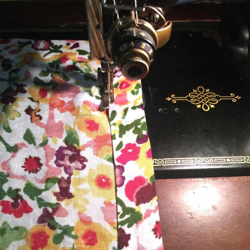 sewing linen napkins on my singer featherweight