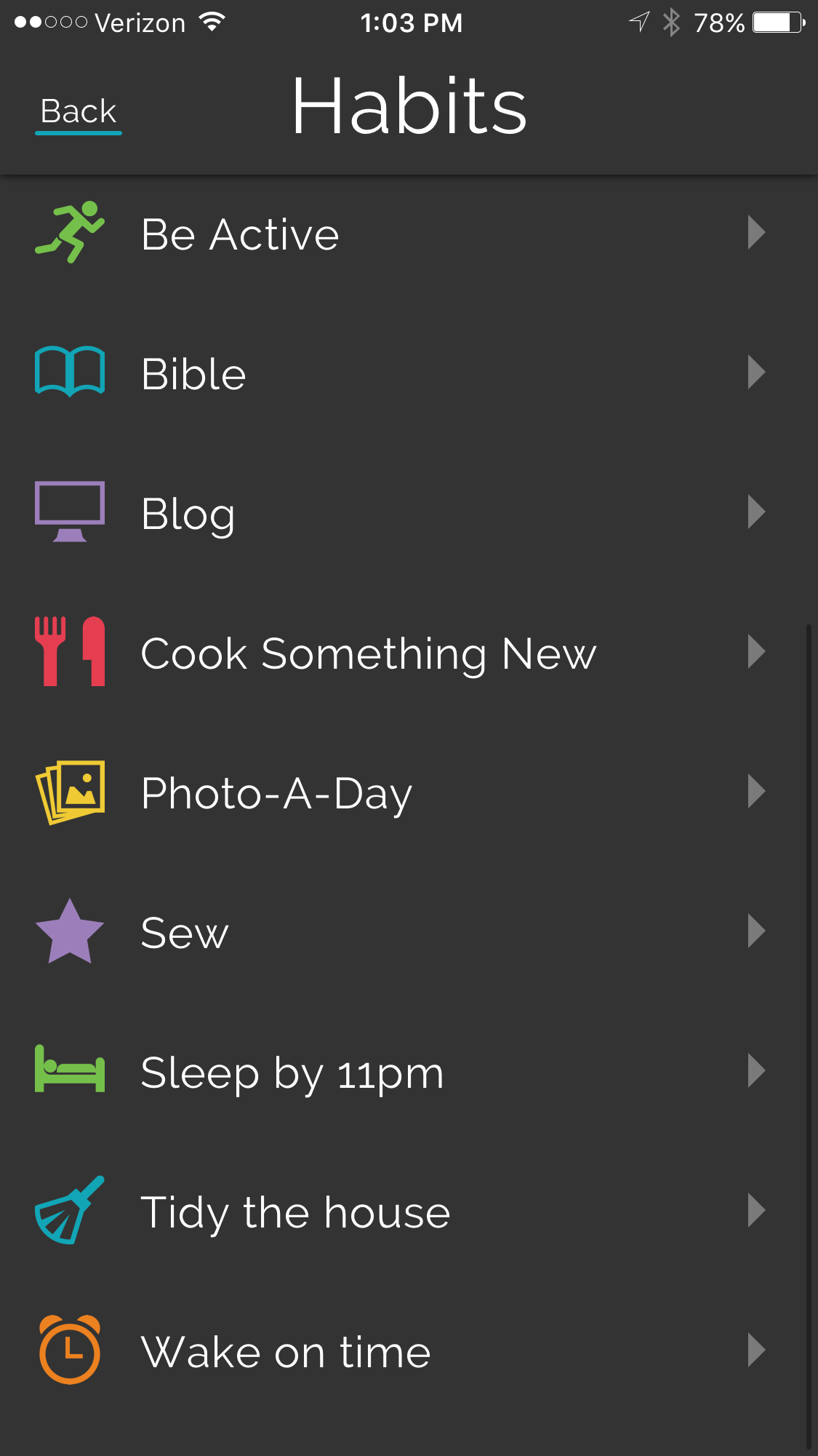 daily habits and goals for may using the productive app!