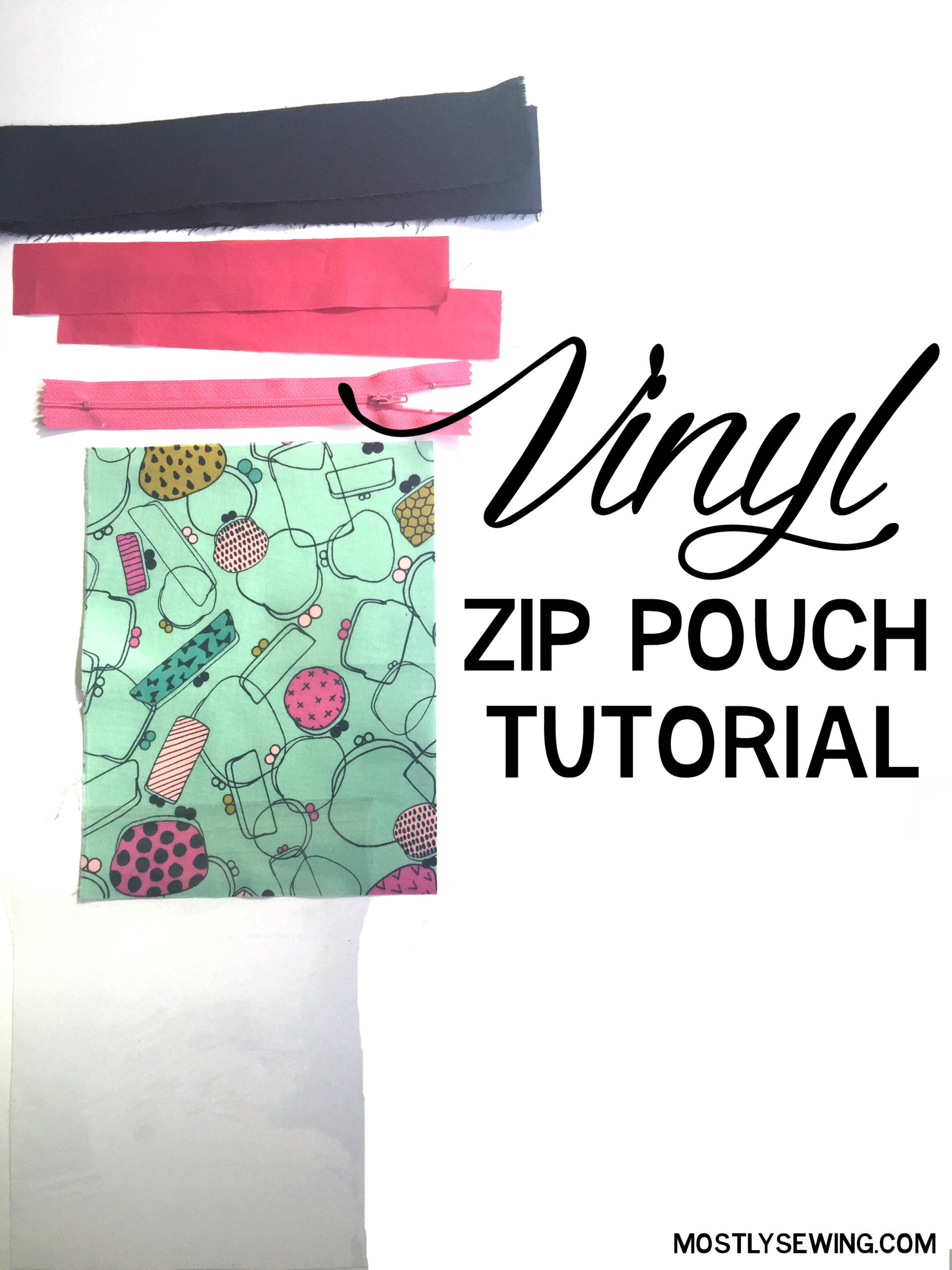 I used cotton and steel backing to sewing this fun vinyl zip pouch with a clear front!