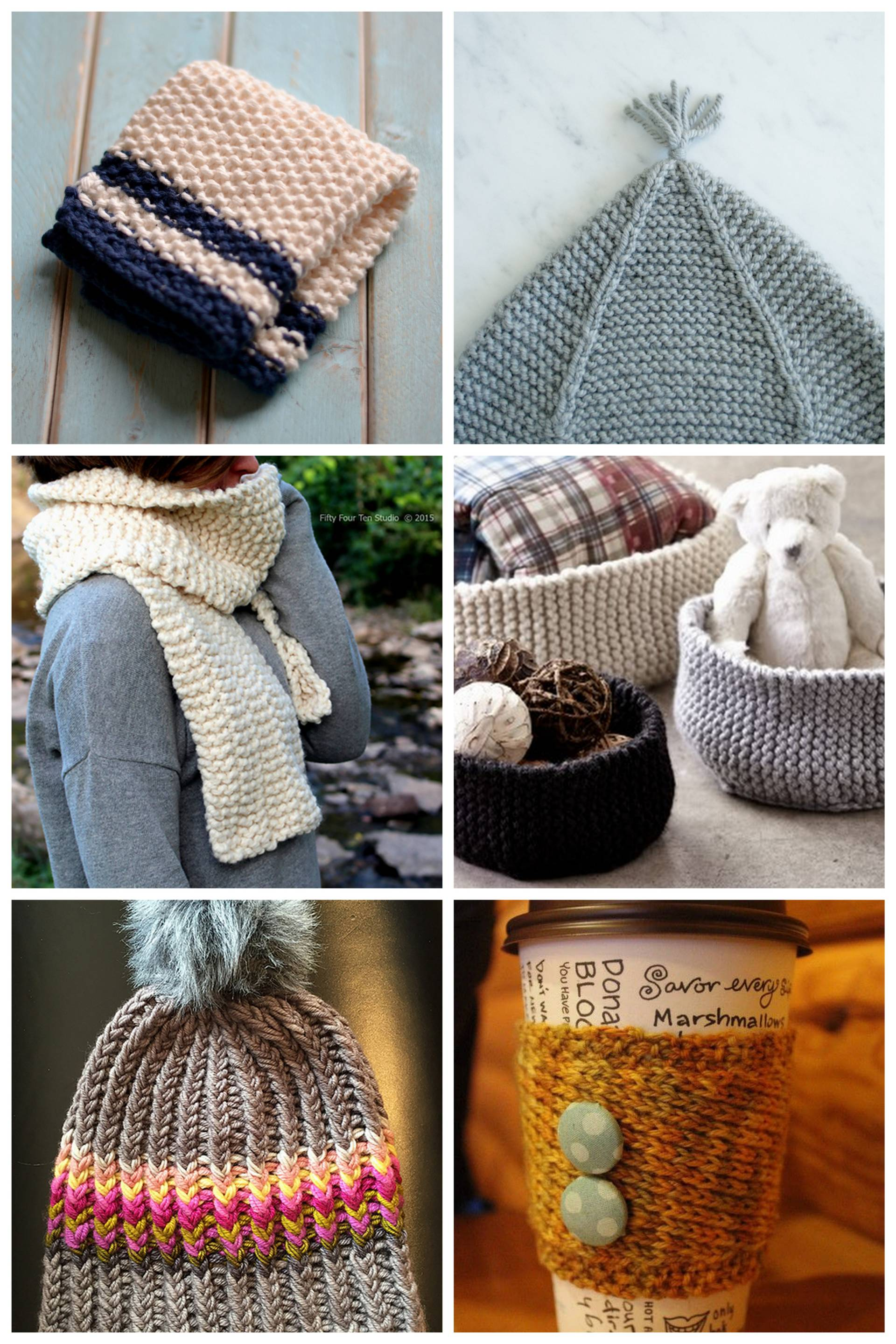 a few simple knitting patterns to knock out in one day for Knit in Public Day