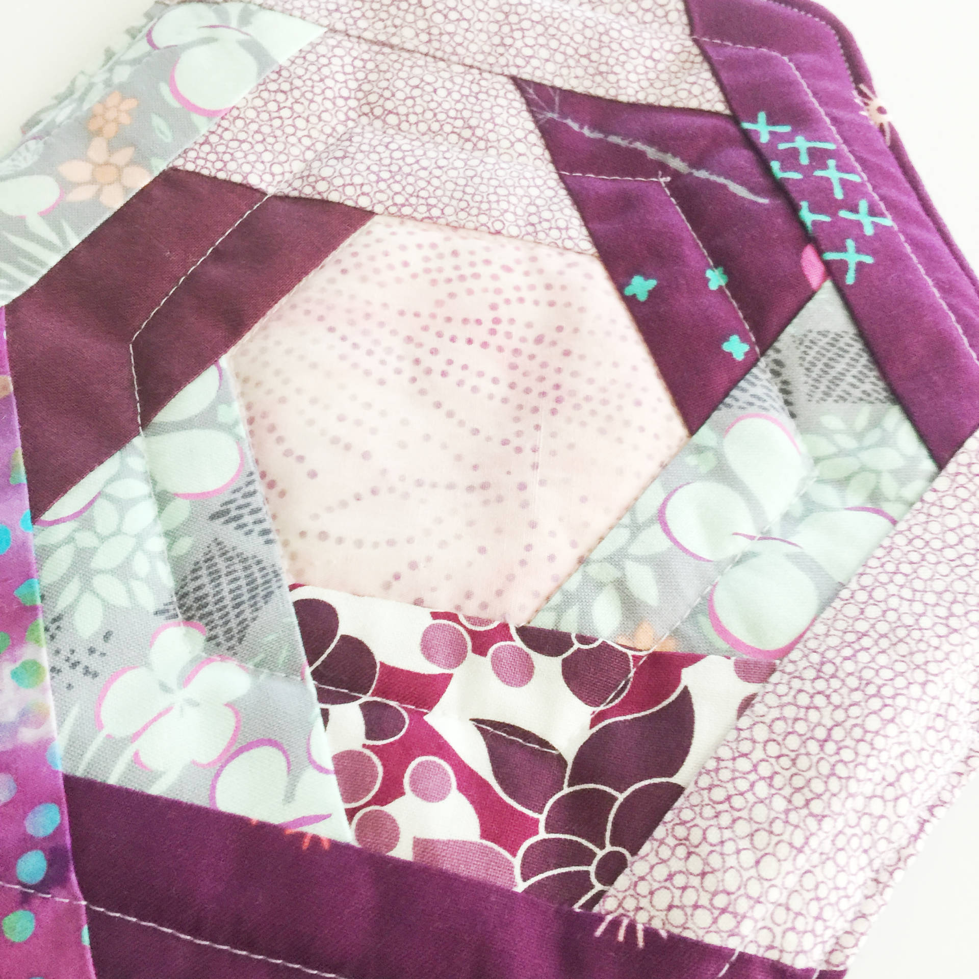 close up of quilting on the potholders