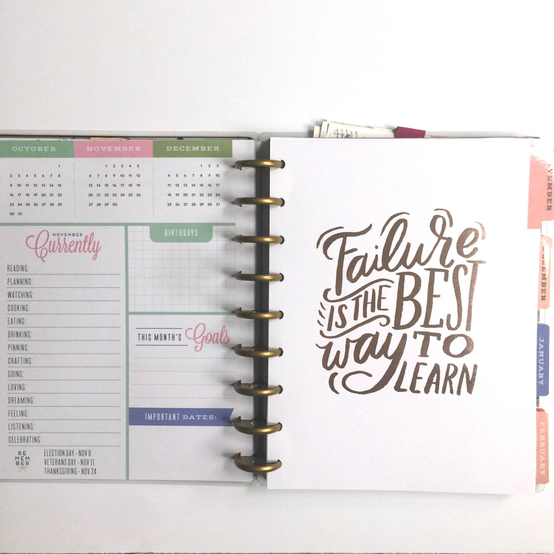 The Happy Planner has a new quote on the front of every month divider
