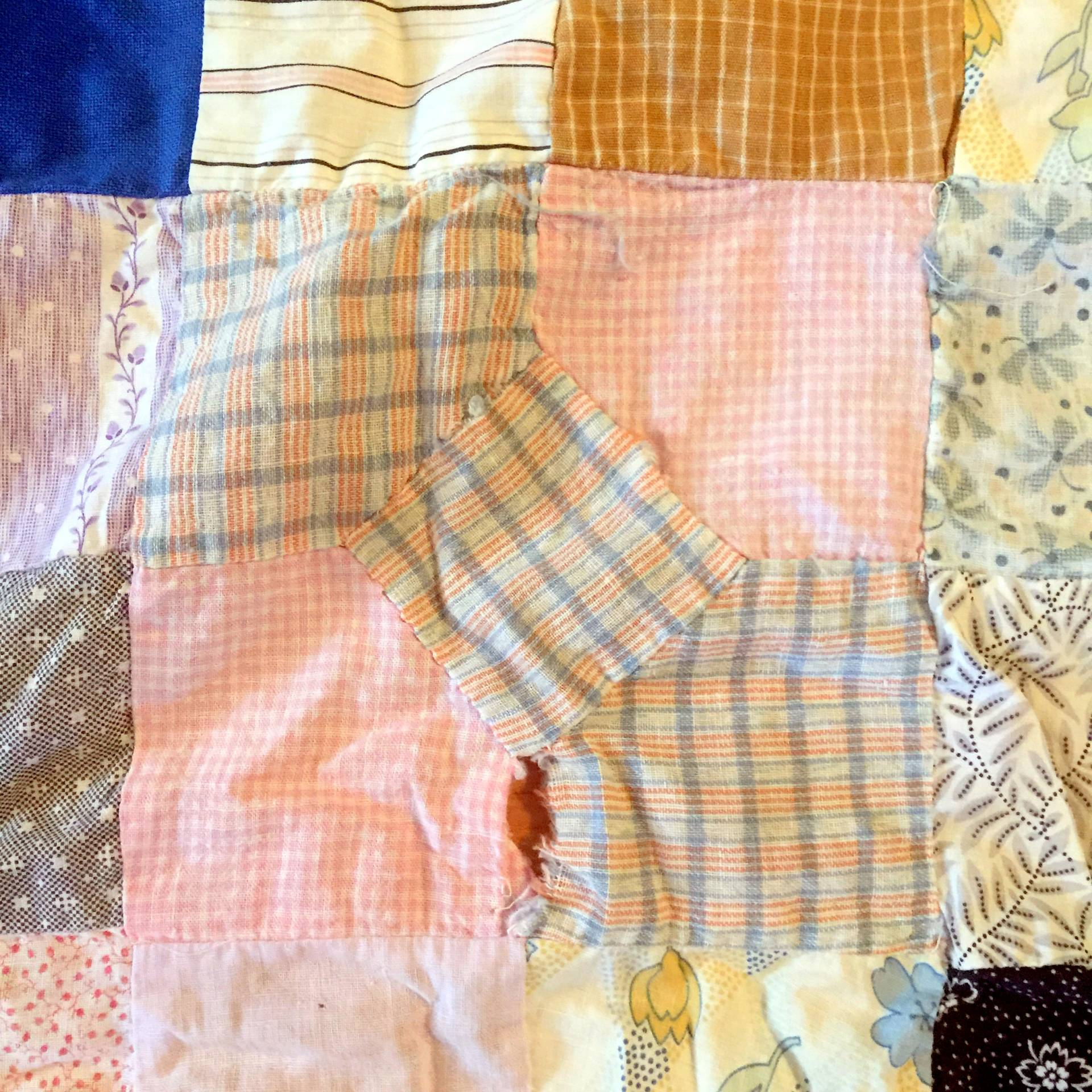 share your tips for repairing a vintage quilt top on MostlySewing.com