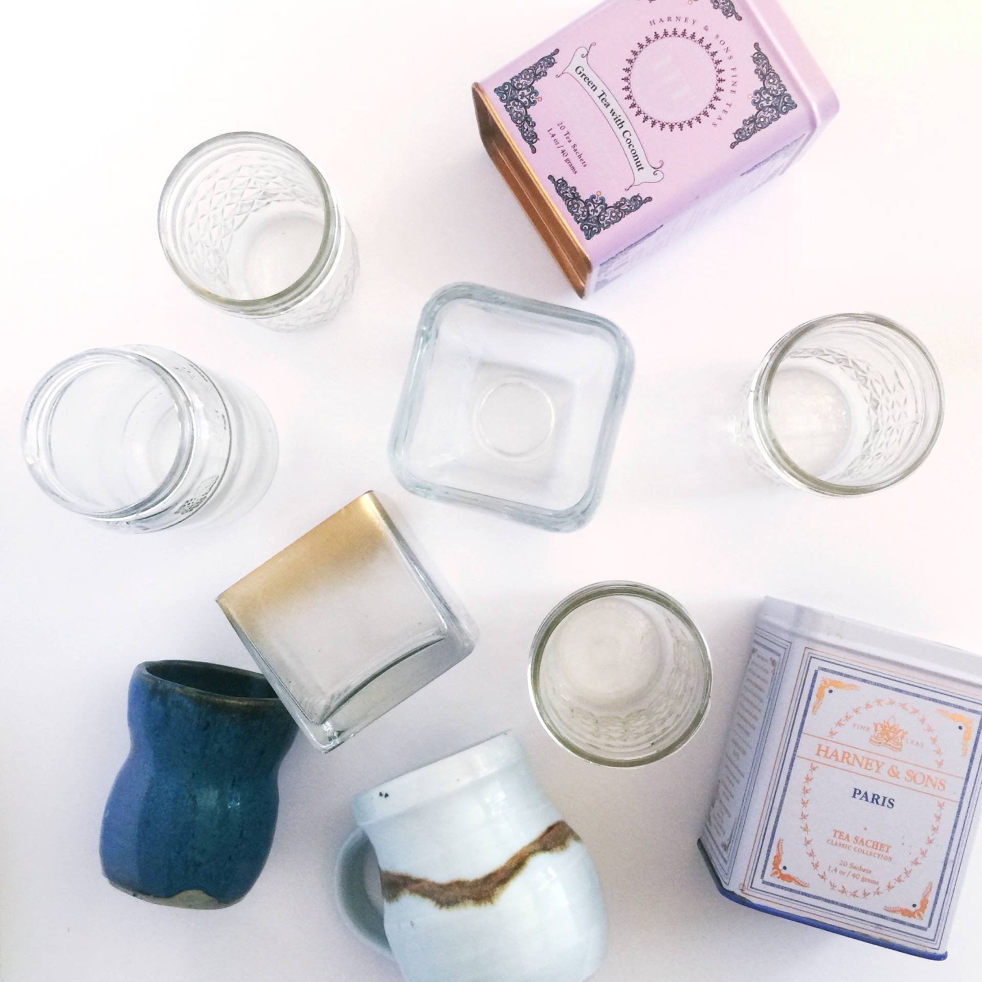 used lots of pretty containers from around my house to make some new candles
