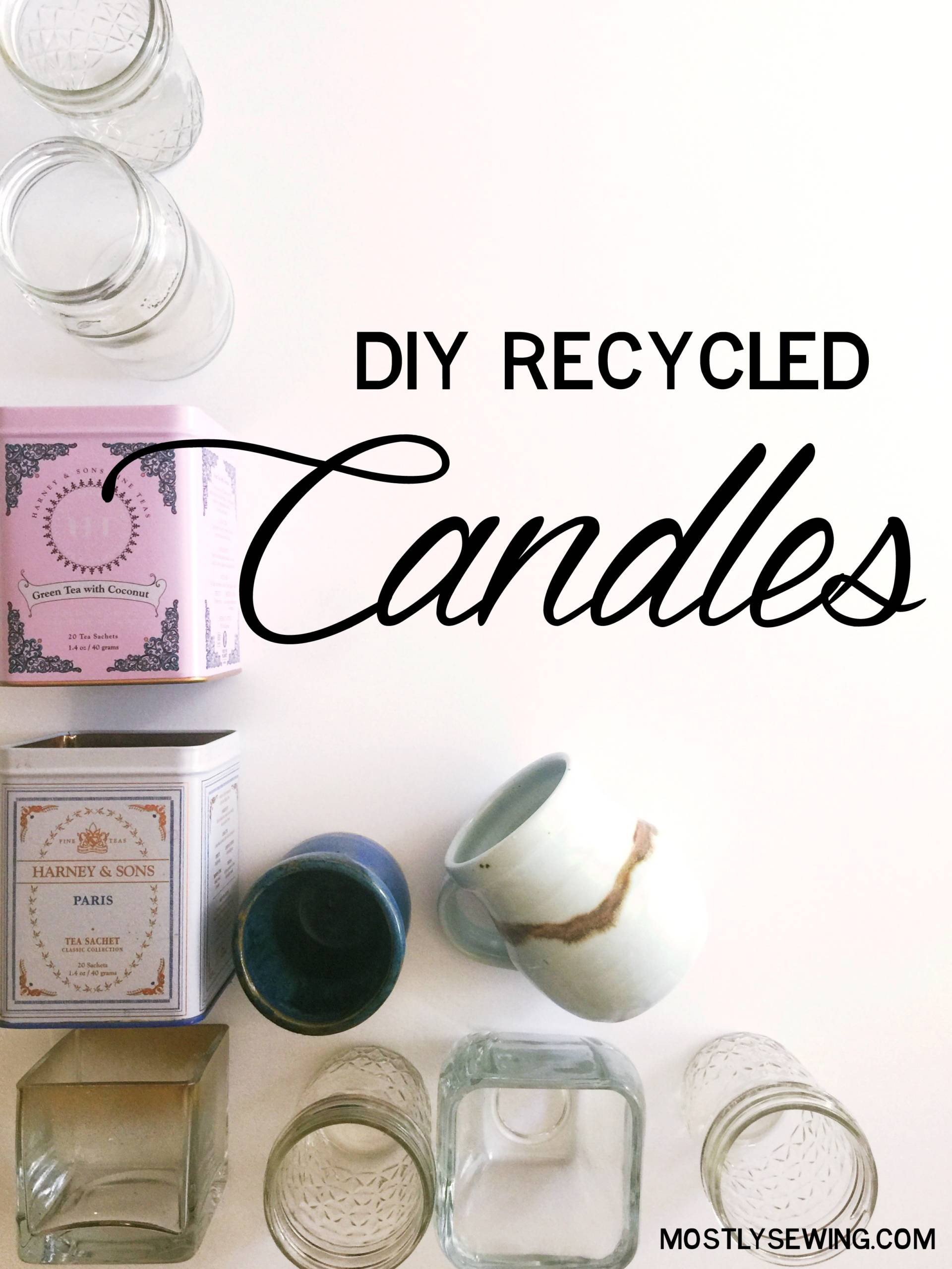 DIY Recycled Candle Tutorial: Use old containers from around your house and melt down some old candles