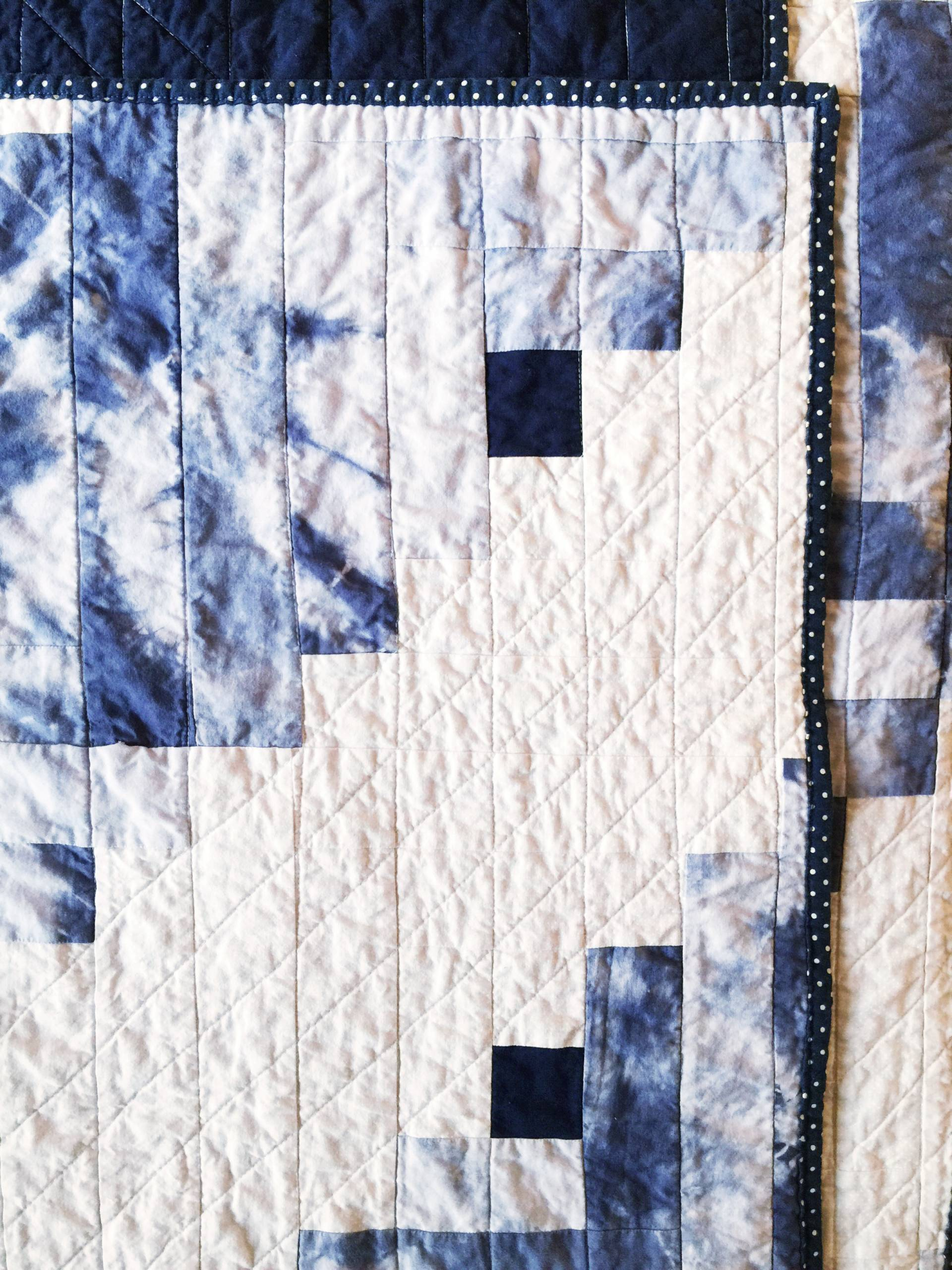 indigo shibori tie dye hand dyed fabric made into log cabin strips
