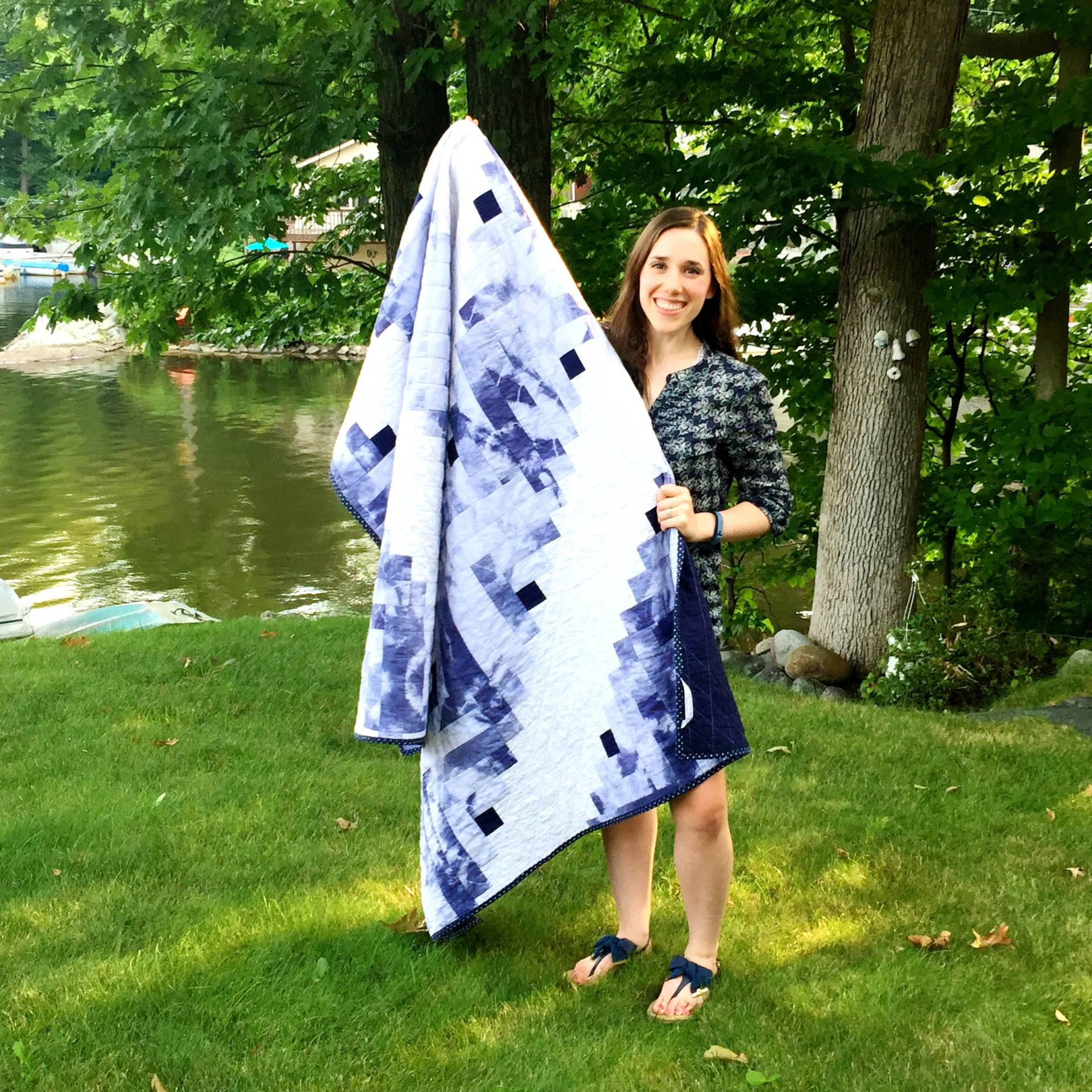 Finished shibori tie dye quilt log cabin pattern