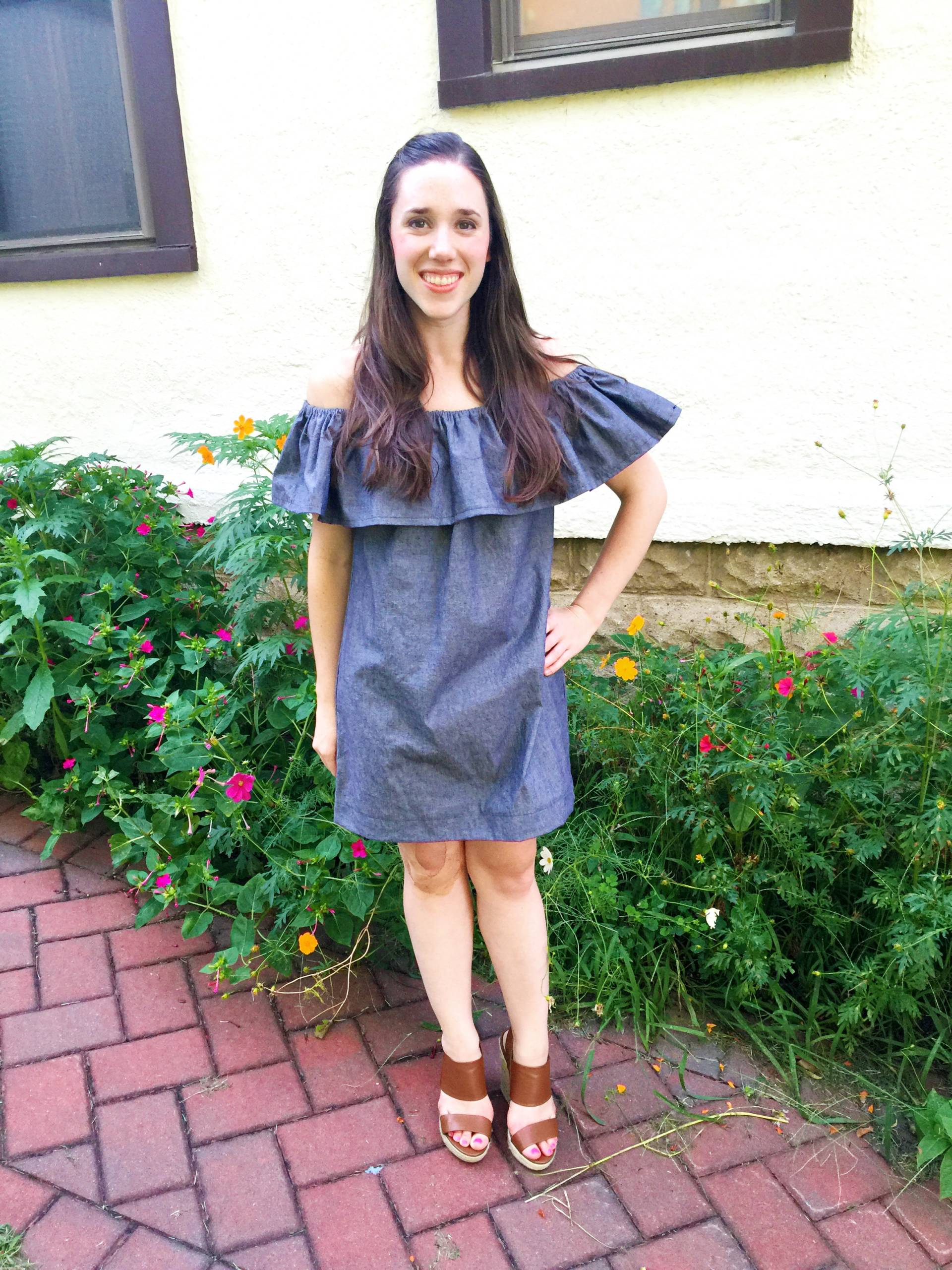 Off the Shoulder handmade dress by MostlySewing! Chambray and ruffles!
