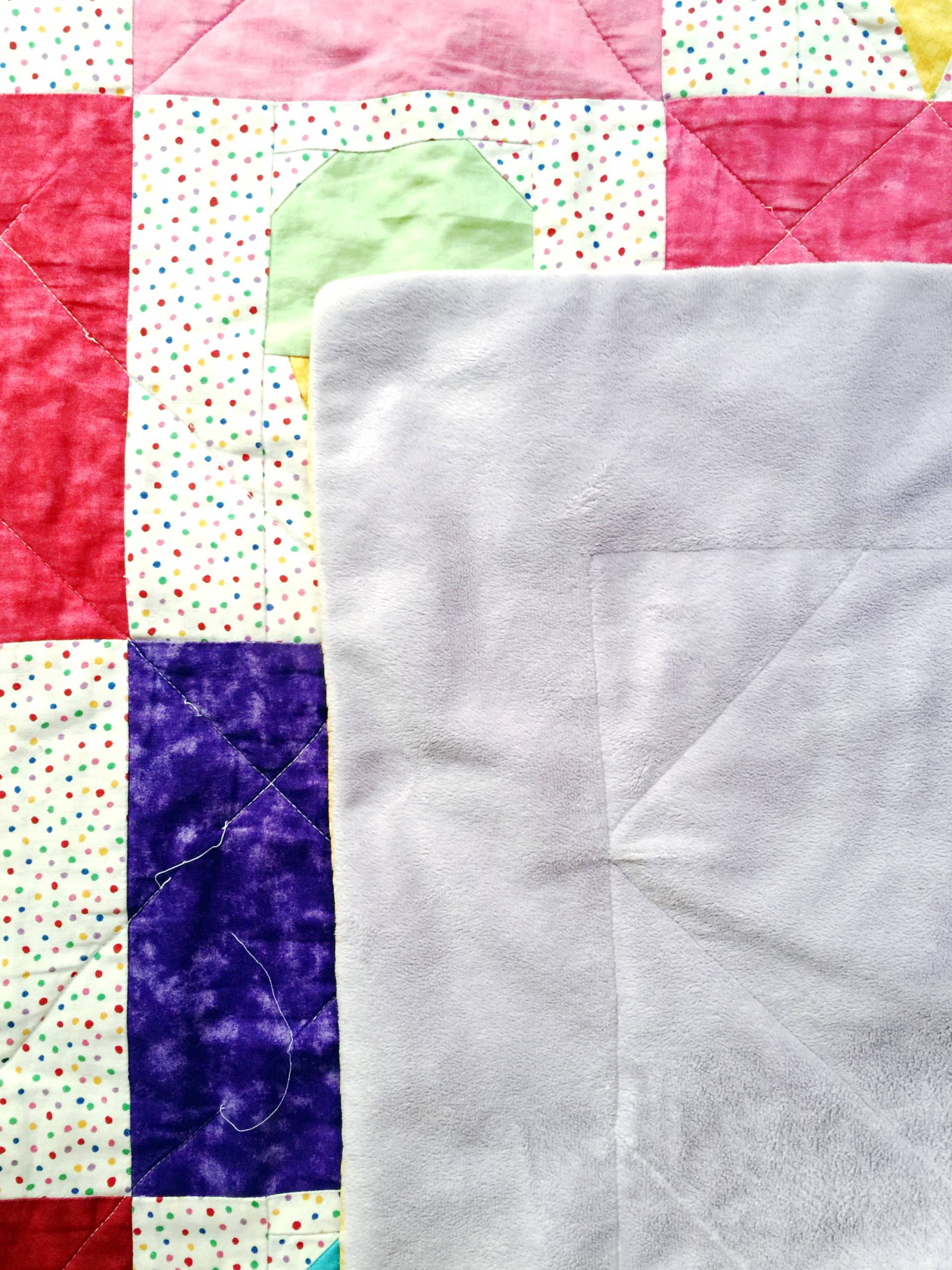 The minky backing on this fun quilt is one of my favorite things!