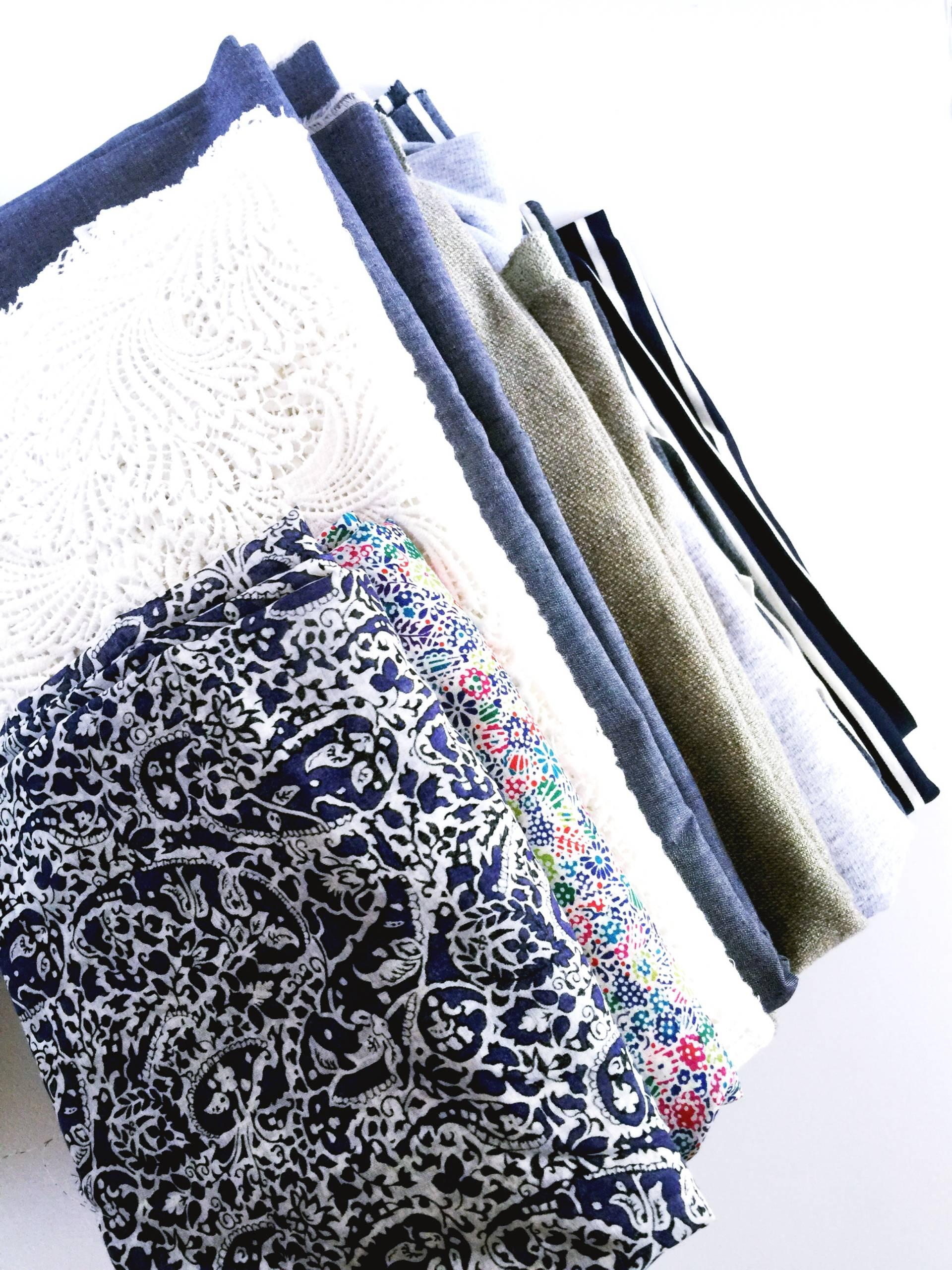 My tall stack of fabrics from Mood Fabrics NYC