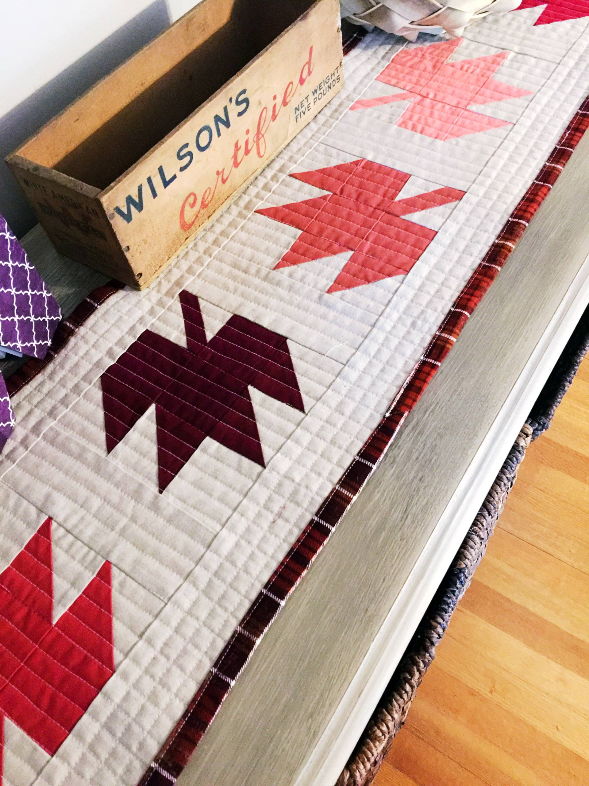 Love the matchstick quilting on this falling leaves quilted table runner