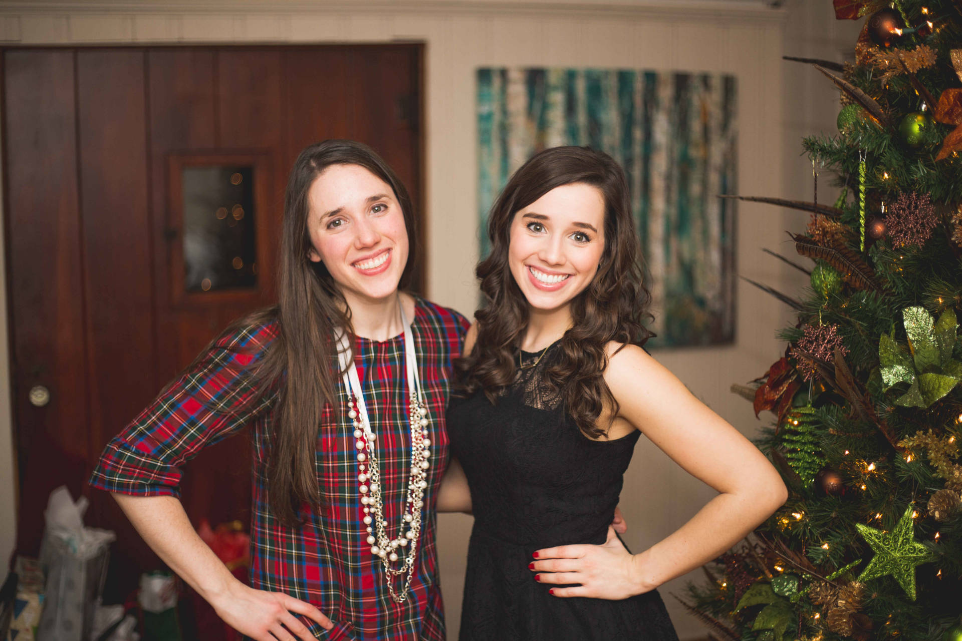 The Laurel Dress in Plaid - me and my sister Christmas Eve 2015