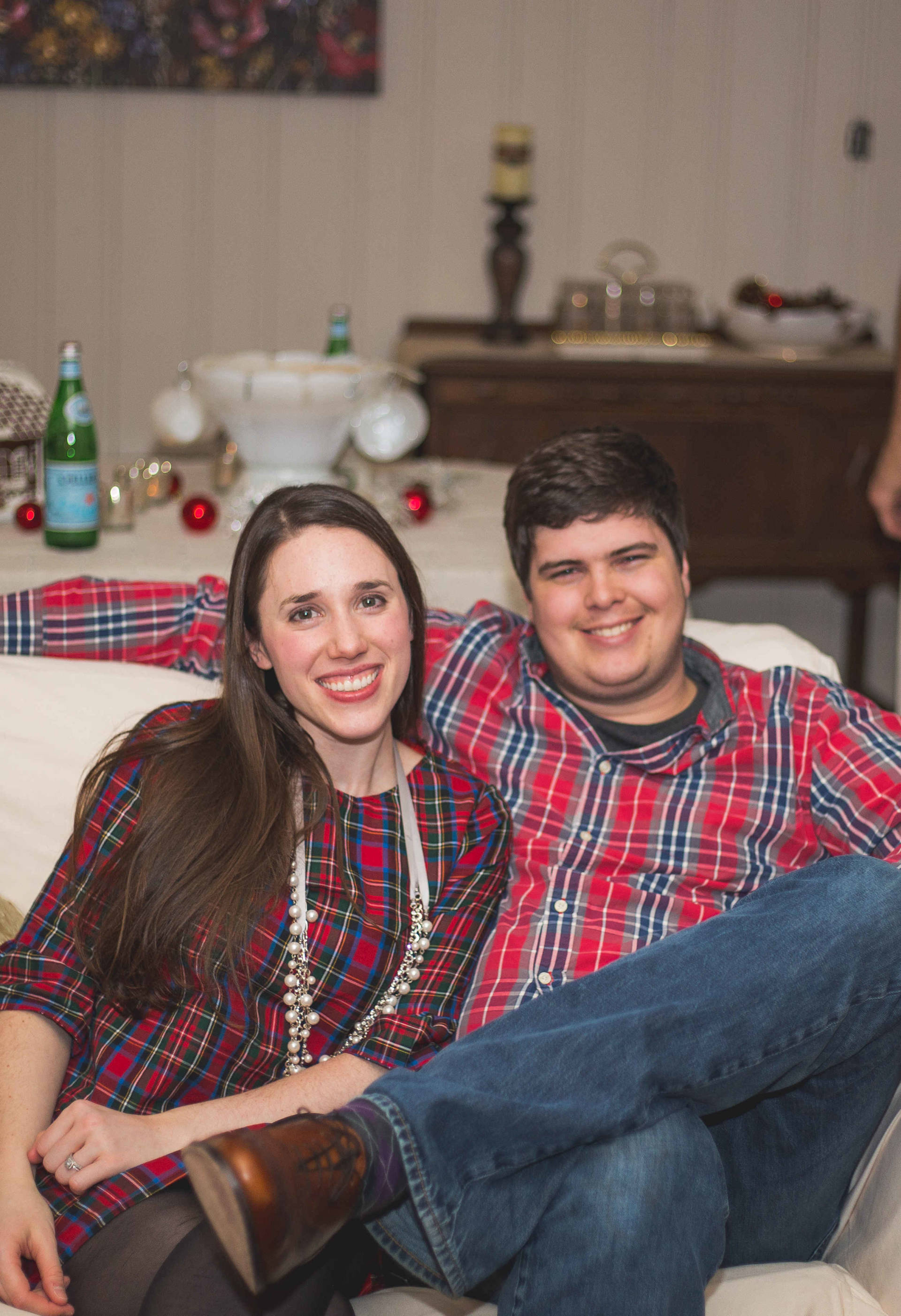 The Laurel Dress in Plaid - Plaid on plaid with my husband! Christmas Eve 2015