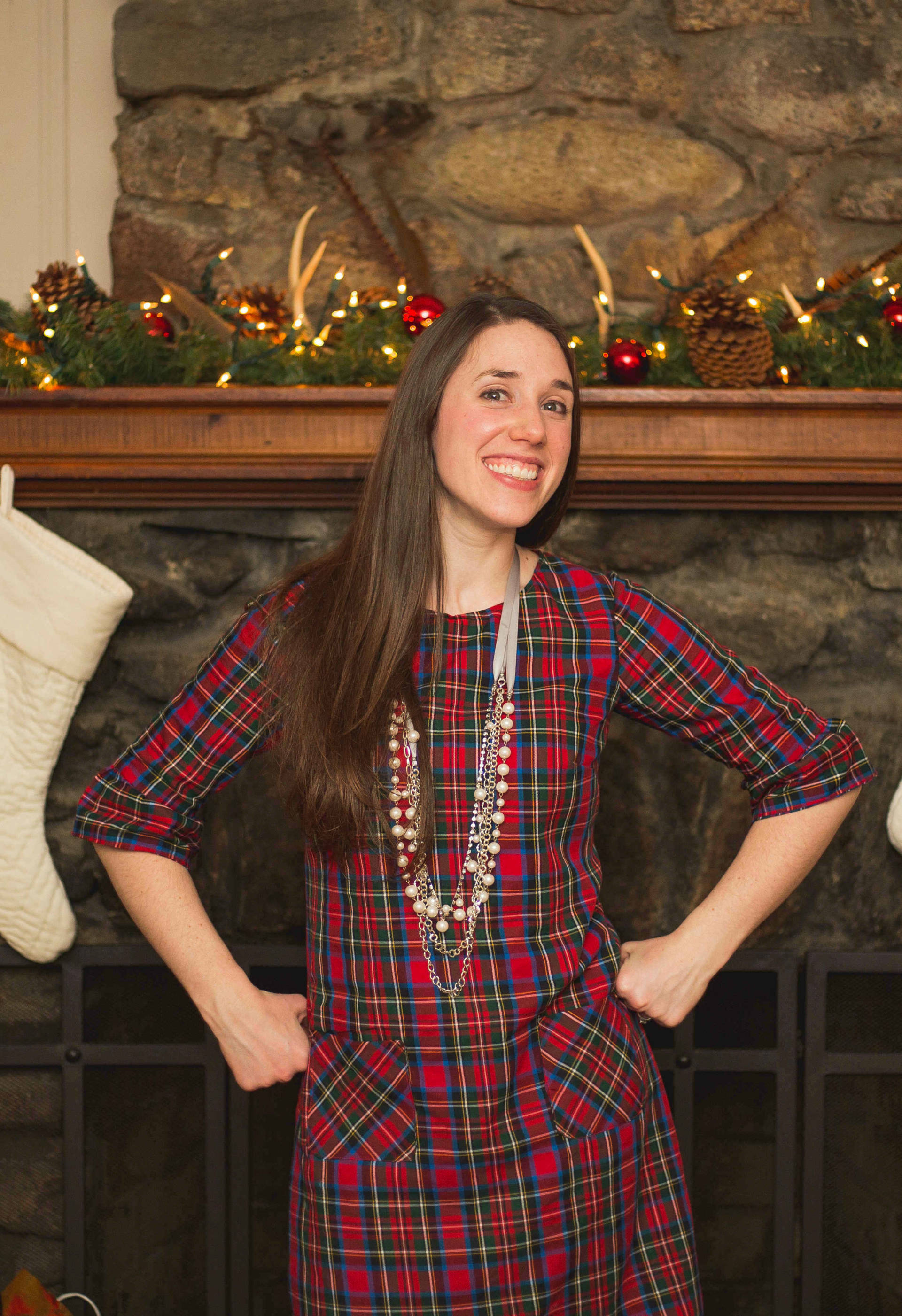 Being silly showing off my me made dress! The Laurel Dress in Plaid
