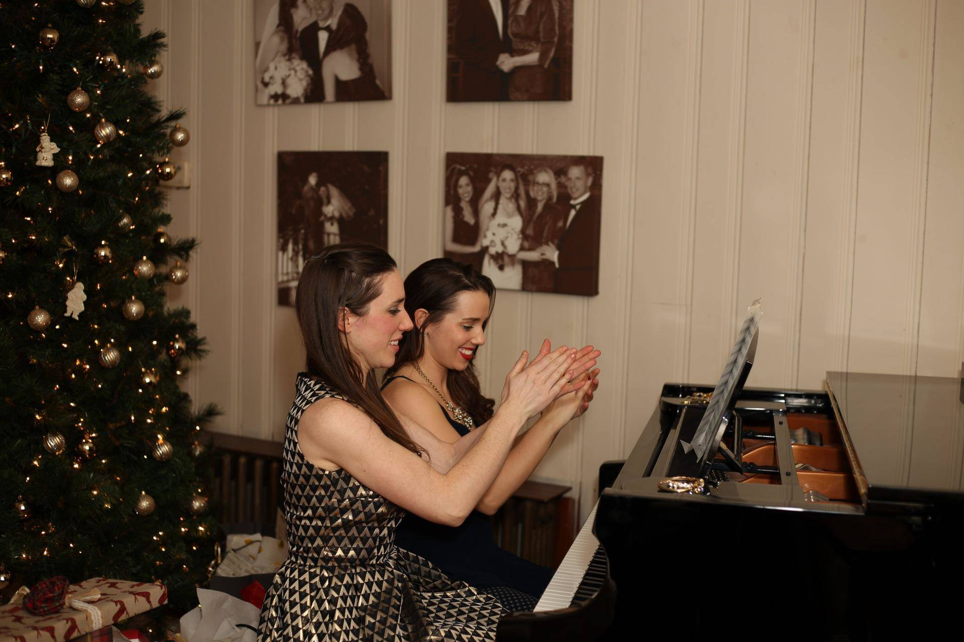 Sister piano duet of Sleigh Ride for Christmas Eve