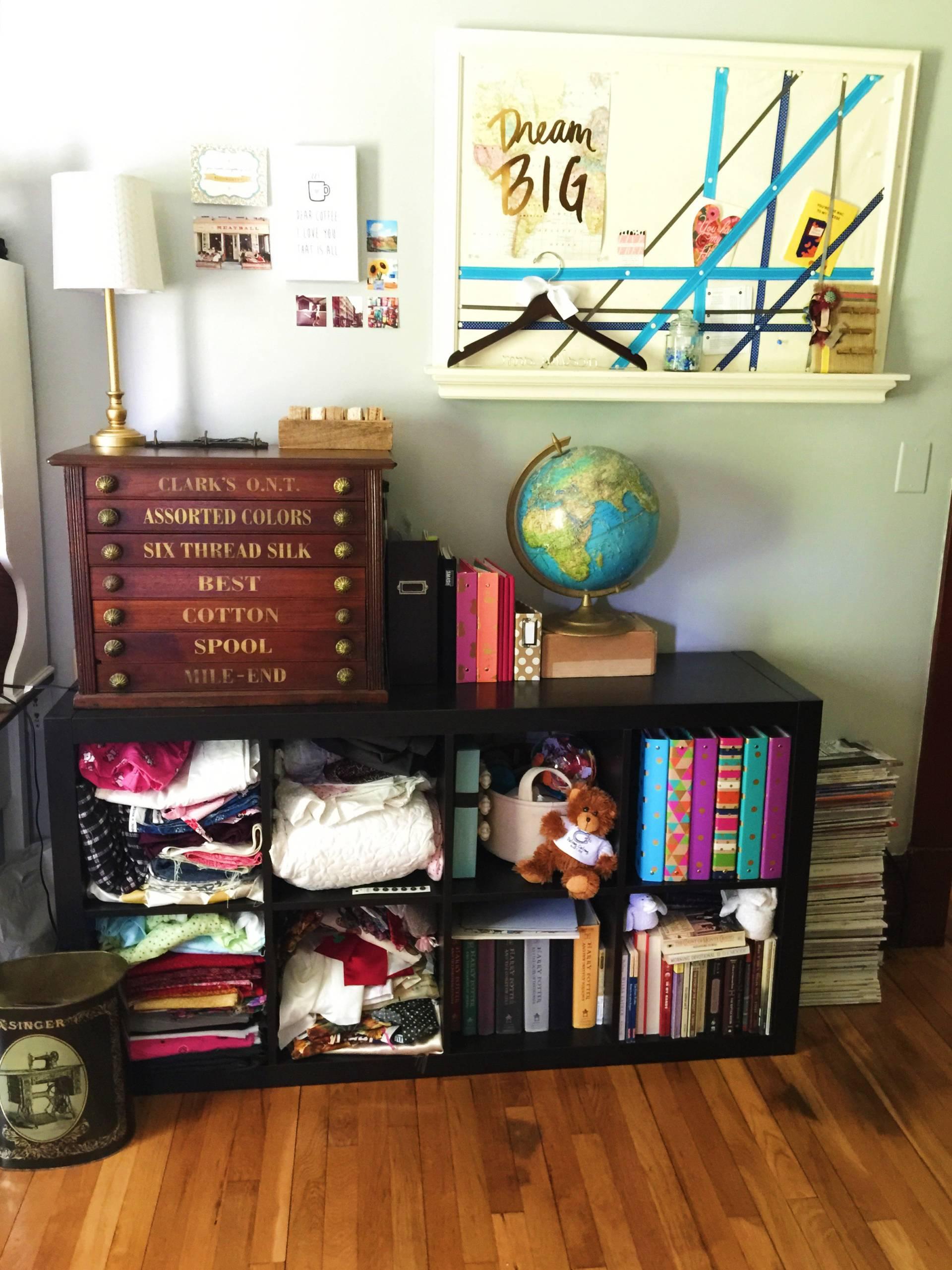 craft room organization and bulletin DIY from MostlySewing.com